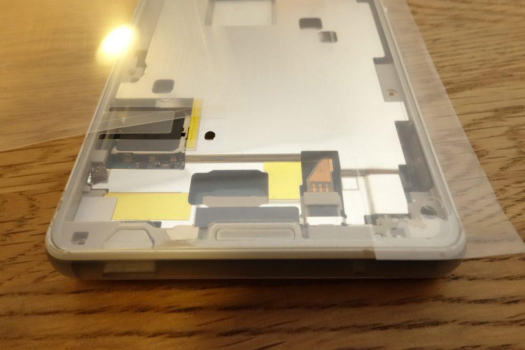 Z3 Compact SO-02G Sony D5803 D5833 液晶パネル取外し、脱脂後両面テープ貼付完了