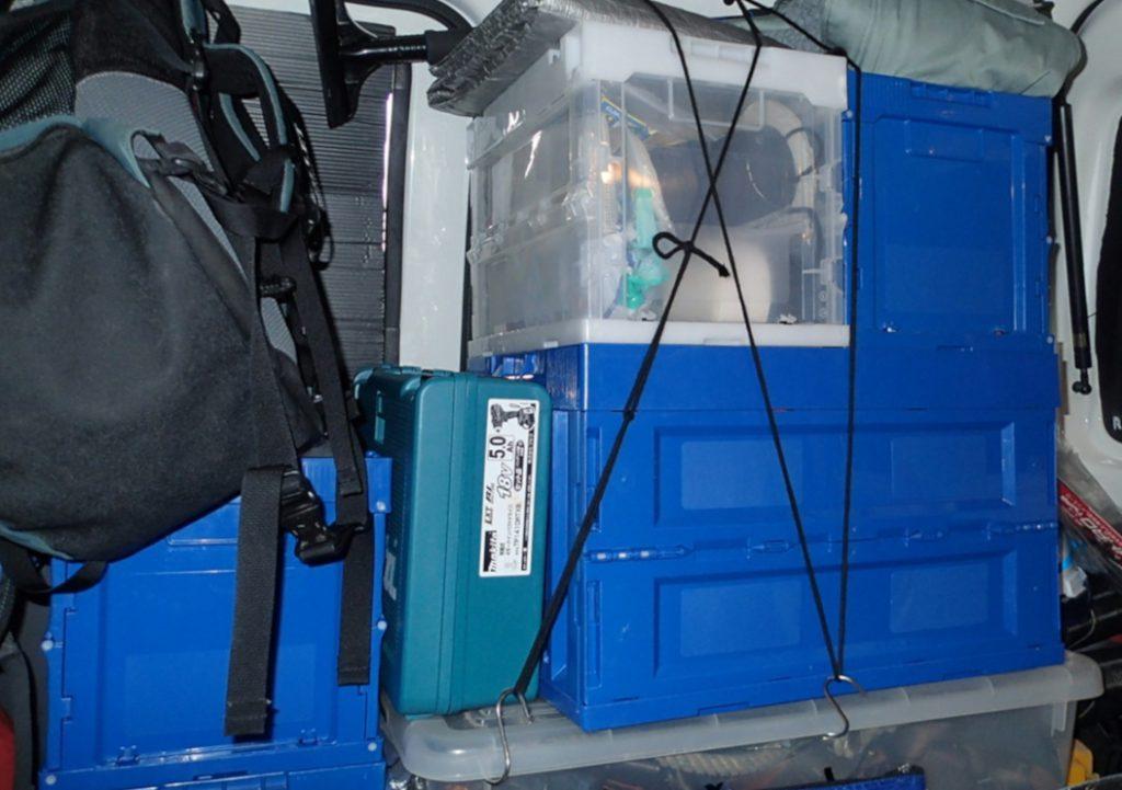 折り畳みコンテナを積み重ね 軽バンで車中泊 スズキ エブリイ 日産 NV100クリッパー マツダ スクラム 三菱 ミニキャブバン ダイハツ ハイゼットカーゴ トヨタ ピクシスバン スバル サンバー